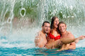 Three Friends In Public Swimming Pool Royalty Free Stock Image - 18235426