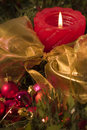 Red Candle And Christmas Balls Royalty Free Stock Photos - 1832468