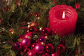 Red Candle And Christmas Balls Stock Photo - 1832470