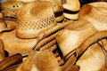 Piles Of Straw Cowboy Hats Royalty Free Stock Photo - 18303545