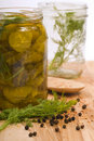 Preserving Pickles With Dill And Peppercorns Stock Photos - 18320643