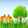 Cartoon Little Girl Hide In Grass Royalty Free Stock Images - 18331049