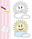Coloring Book Sketch: Happy Sun Royalty Free Stock Image - 18363896