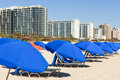 Colorful South Beach Umbrellas And Lounge Chairs Royalty Free Stock Photos - 18371548