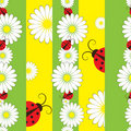Striped Seamless Pattern With Ladybirds Royalty Free Stock Photo - 18375755