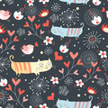 Seamless Pattern With Lovers Cats And Birds Royalty Free Stock Photos - 18379458