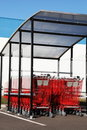 Red Shopping Trolleys Outdoors Vertical Stock Photos - 18430123