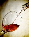 Red Vine In Glass On Vintage Background Stock Photography - 18440792