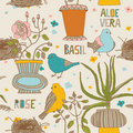 Flowers And Birds Seamless Pattern Stock Photography - 18455422