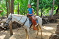 Preteen Girl On A White Horse In The Tropics Stock Photo - 18461090