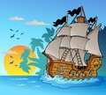 Old Vessel With Island Silhouette Stock Photography - 18474732
