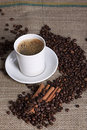 Hot Cup Of Coffee With Cinnamon And Coffee Grains Royalty Free Stock Photos - 18502418