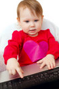 Cute Baby  Holding Laptop Royalty Free Stock Photo - 18584945
