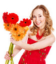 Happy Young Woman Holding Flowers. Royalty Free Stock Photography - 18599117