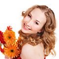 Happy Young Woman Holding Flowers. Stock Images - 18599204