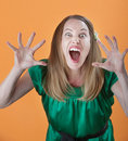 Woman Trying To Scare Others Royalty Free Stock Photography - 18614137