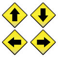 Group Of Four Yellow Road Signs With Arrows Stock Photo - 18625700