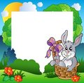 Easter Frame With Bunny In Basket Stock Images - 18636164