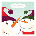 Two Snowman_card Royalty Free Stock Photography - 18662507
