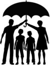 Family Parents Hold Security Risk Umbrella Stock Photos - 18677653