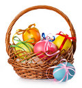 Easter Colored Eggs In The Basket Royalty Free Stock Image - 18705426