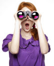 Teen Red-haired Girl With Binoculars Stock Photography - 18755082