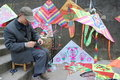 Chinese Old Man  Selling Kite Royalty Free Stock Photography - 18771317