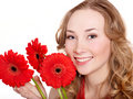Happy Young Woman Holding Flowers. Stock Photo - 18795610
