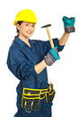 Young Worker Woman With Hammer Stock Photography - 18796912