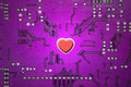 Red Heart And Circuit Board Royalty Free Stock Images - 1889269