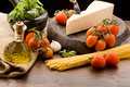 Ingredients For Pasta With Tomatoe Sauce Royalty Free Stock Image - 18833776