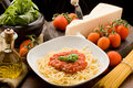 Pasta With Tomatoe Sauce And Ingredients Stock Photo - 18834050