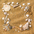 Frame From Various Shells On Sand Royalty Free Stock Images - 18835779