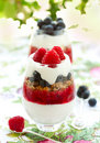 Raspberry And Blueberry Parfait Stock Photography - 18848092