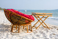 Chair And Table On The Shore Royalty Free Stock Images - 18874179
