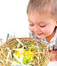 Little Boy With Easter Eggs In Basket Stock Image - 18914931