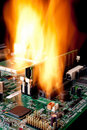 A Computer Electronic Mother Board On Fire Stock Image - 18945941