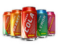 Set Of Refreshing Soda Drinks In Metal Cans Stock Photo - 18972060