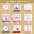 Postage Stamps With Baby Girl Objects Stock Images - 18980164