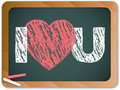 Blackboard With I Love Heart You Message Royalty Free Stock Images - 19016549
