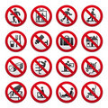 Prohibited Signs, Set Royalty Free Stock Photos - 19019468