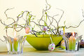 Easter Decoration With Green Bowl And Candles Stock Photo - 19022800