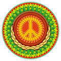 Colorful Hippie Emblem. Royalty Free Stock Image - 19032876