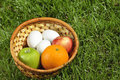 Wicker Basket With Fruits And Eggs On Grass Stock Photos - 19076343