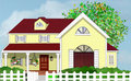 Yellow Home House With Tree And White Picket Fence Stock Photos - 19086243
