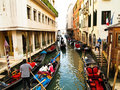 Traditional Boats At Narrow Streets , Venice Italy Royalty Free Stock Photo - 19094485