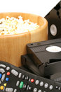 Popcorn & Video W/remote Control Vhs Vertical Stock Photography - 1919872
