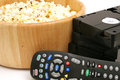 Popcorn & Video W/remote Control Vhs Royalty Free Stock Images - 1919879