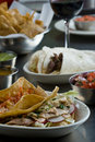 Tacos Served With Tortilla Chips And Salsa Royalty Free Stock Photography - 19132587