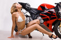 Sexy Girl On Motorbike Royalty Free Stock Photos - 19139118